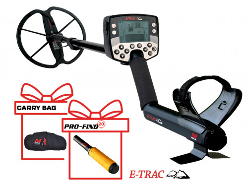 Metal Detector Minelab E-Trac Universal + PRO-FIND 20 PinPointer + Minelab Pro Deluxe Large Carrying Bag